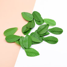 200pcs Cheap Silk Leaf Handmake Artificial green Leaves For Wedding home Decoration DIY Wreath Gift Scrapbook Craft Fake Flower(China)