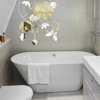 Bicolor 3D Lotus Blume Spiegel Wand Aufkleber Wohnzimmer ...
