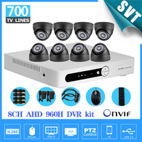 Cctv 8ch 960h AHD Dvr Video Recorder Security 700TVL IR Indoor Camera System Kit System HD