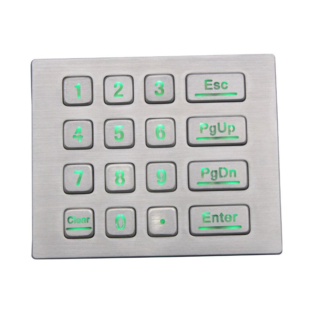 DAVO LIN IP65 Metal Backlit USB Keyboard With illuminated Industrial Waterproof Led Backlight Keypad With 16 Keys