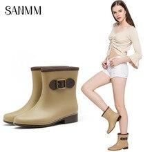 SANMM Women Non-Slip Warm Buckle Rainboots Autumn Winter Flat Platform Waterproof Water Boots Woman Mid-Calf Wellies
