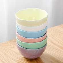 6 pieces/set Pastoral Style Colorful Ceramic Dinnerware Kids Bowl Kitchen Dining Bar Rice Dessert Ice Cream Salad Bowl