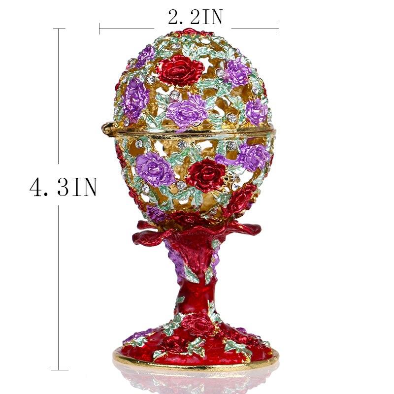 Image 5 - Шкатулка для ювелирных изделий H & D 4,3 дюйма, ручная работа, русская коробка для яиц, откидной держатель для кольца, коллекционные украшения, статуэтка для хранения, подарок на Пасхуbox forbox boxbox for wedding gift -