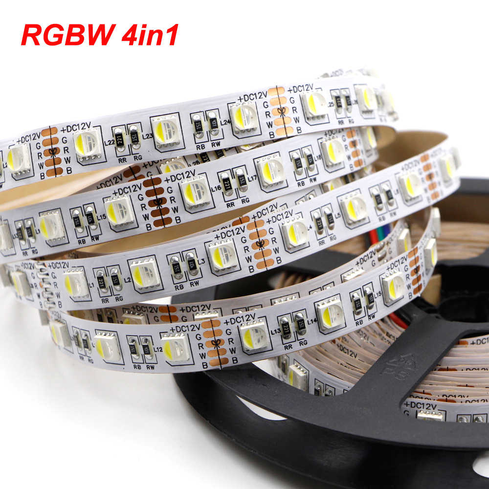 5050 RGB LED Strip Tahan Air 5 M 120LED RGBW4in1 DC 12 V RGBW 96 LED Rgbww Putih Hangat Putih Dipimpin lampu Strip Fleksibel