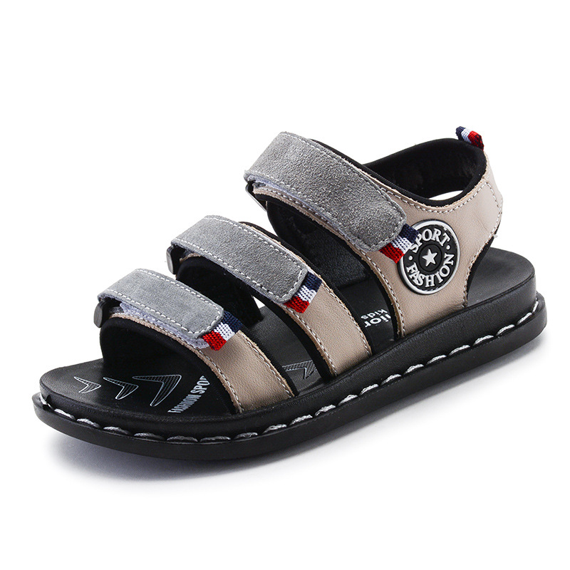 2018 New Summer Children Shoes Genuine leather sandals big kids sport sandals real leather boys shoes for 2-16Years size 26-39