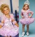 Eden madeira Mini Jerwel Glitz Pageant vestido de baile vestido de festa strass menina queque vestido de meia manga