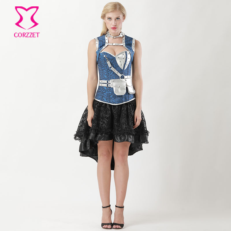 US $51.98 41% OFF|Black/Blue Steel Boned Corsets And Bustiers Vintage  Steampunk Dress Plus Size Corset Skirt Set Gothic Clothing Burlesque  Dresses-in ...