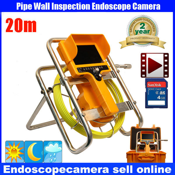 20m Cable Fiber Glass 7'' TFT LCD Waterproof Pipe Sewer Inspection Camera Color 1/3 CCD600TVL  12Leds Endoscope Snake Camera
