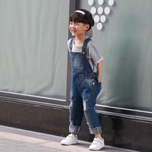 2 3 4 5 6 7 8 9 Years Kids Denim Jumpsuit New Fashion Children Overalls Jeans Pants Boys Girls Jeans Trousers
