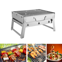 Charcoal BBQ Grill Folding Portable Stainless Steel Barbecue Grill for Outdoor Camping Cookouts