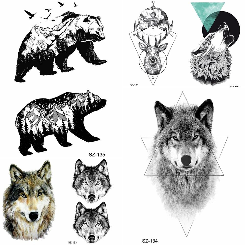 YURAN Geometric Wolf Temporary Tattoo Stickers Women Birds Bear Water Transfer Tatoos Men Arm Hands Fake Tattoo Makeup Tips