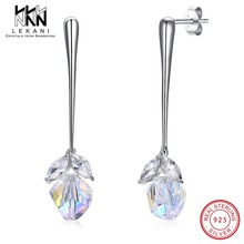 New Asymmetric Fine Jewelry Crustal From Swarovski Crystal Drop Earrings For Women Real S925 Sterling Silver Wedding Party Gifts