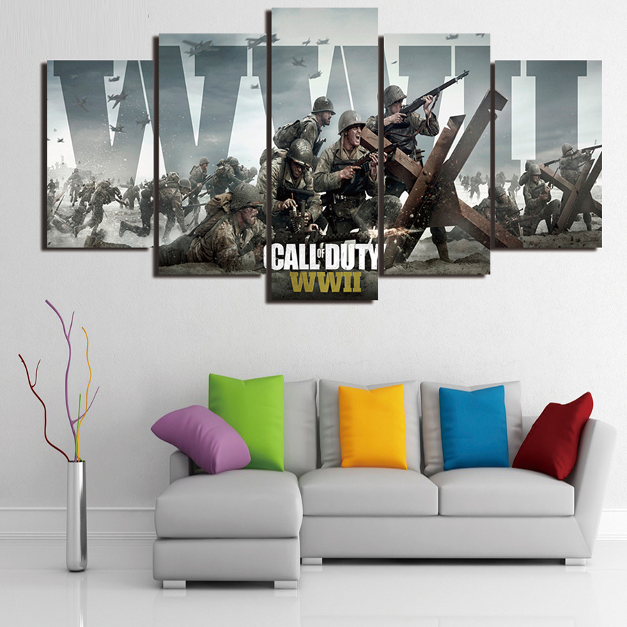 Framed 5 Panel Call Duty Game Print Poster Canvas Art Picture Printing On Canvas For Living Room Wall Art Picture Home Decor