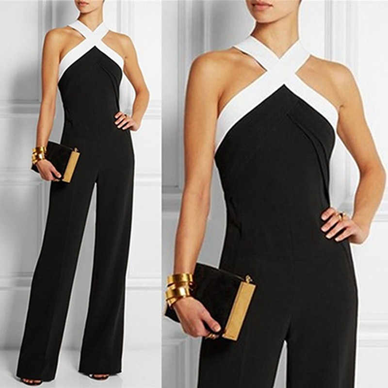 bea7a1ea8246 Long Women Jumpsuits 2018 Summer Plus Size Pants Sexy Halter Neck Off  Shoulder Sleeveless Rompers Casual