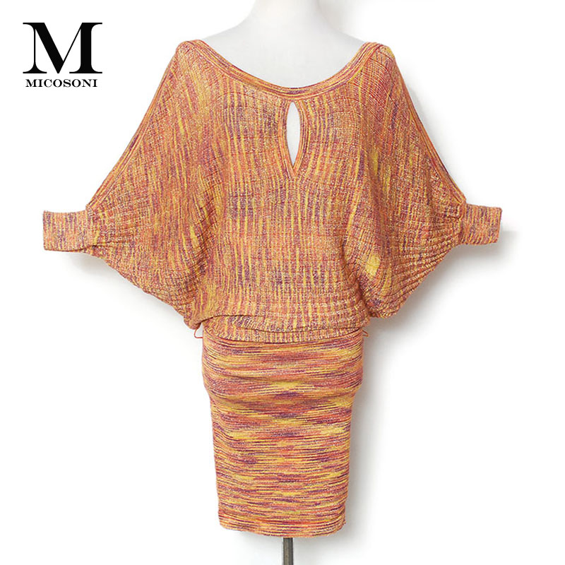 Italian Knitted Autumn 2018 New All in One Gold and Silver Filament Water Corrugated Batwing Sleeve