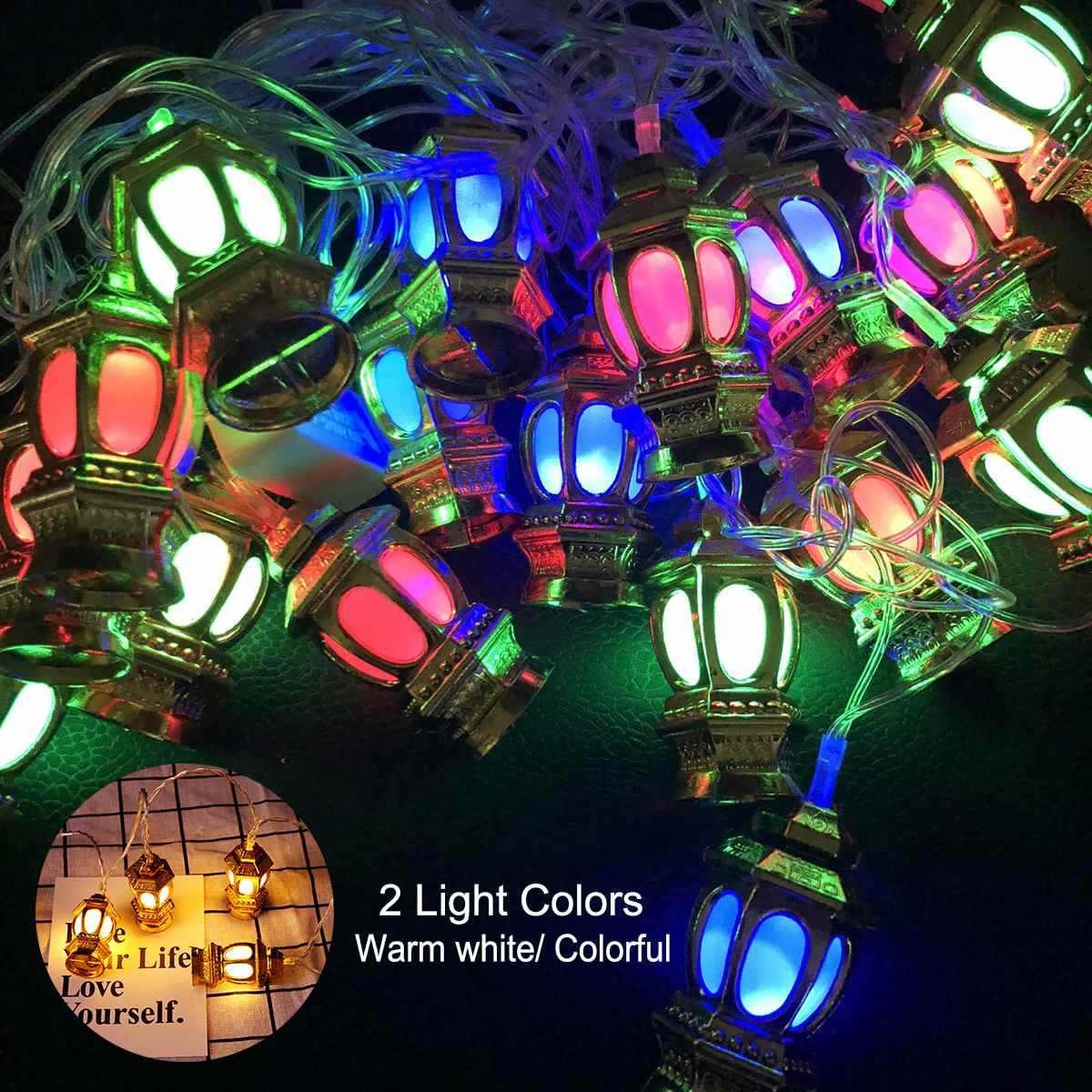 Dây Đèn Nhiều Màu Sắc Đèn 165 cm 10 EID Ramadan Mặt Trăng Trang Trí Tiệc Hồi Giáo 10 ĐÈN LED Đèn Lồng EID Đồ Trang Trí Cho Gia Đình vườn Cây