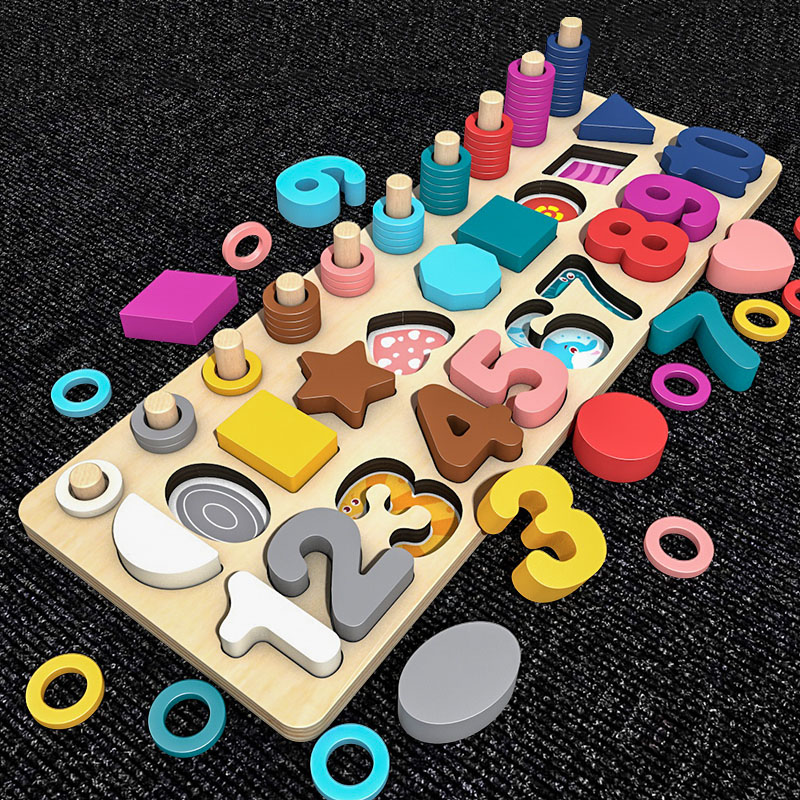 Kids Toys Montessori Materials Teaching Educational Wooden Toys Preschool Count Digital Shape Match Math Toys For Children Gift
