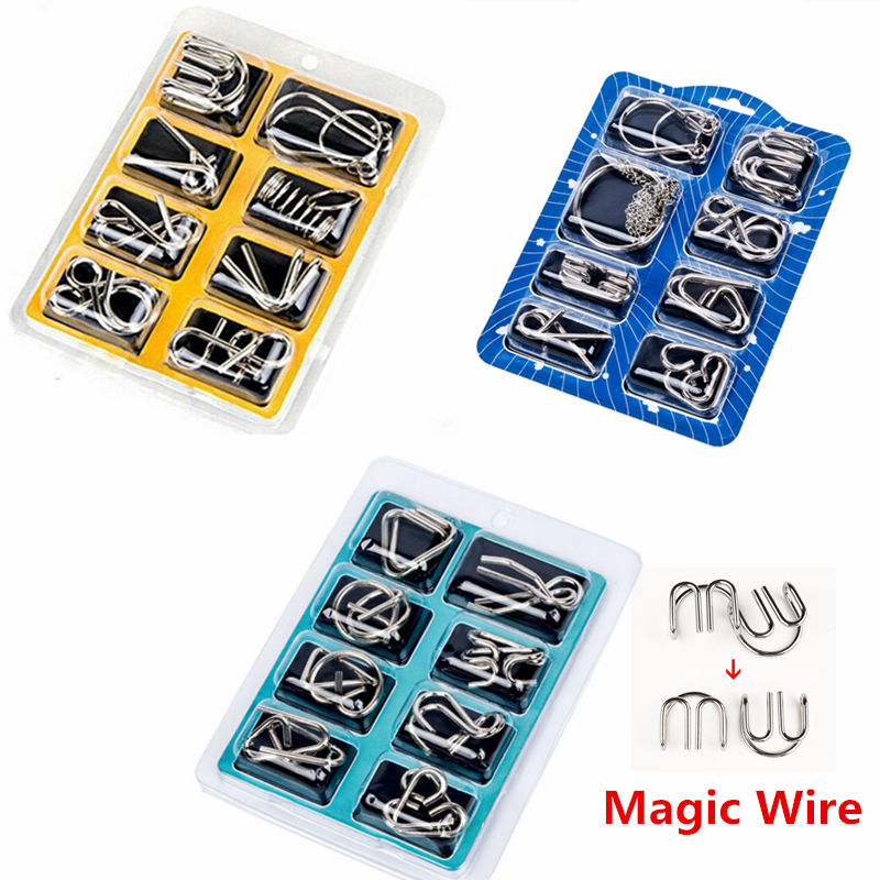 8pcs/set Montessori Materials Metal Wire Puzzle IQ Mind Brain Teaser Puzzles Game For Adults Kids 3 Style