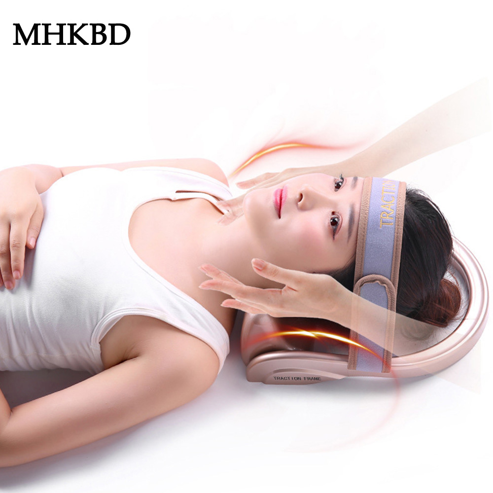 MHKBD Neck Traction Filled Air Cervical Tractor Portable Posture Pump Relaxing Vertebra Massager Spine Muscle Relief Pain Tools(China)