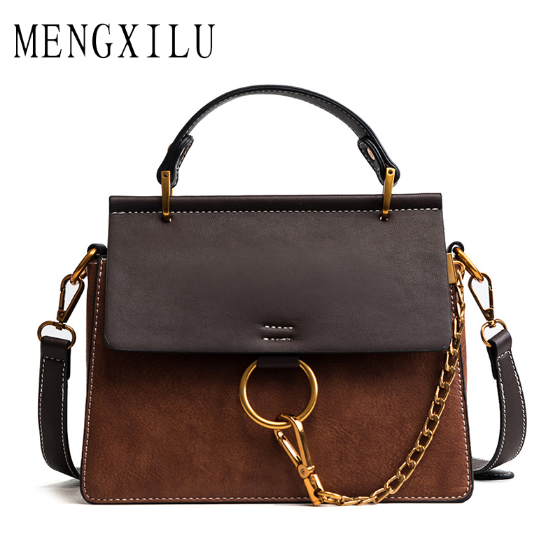 MENGXILU Brand Women Messenger Bags Flap Vintage Crossbody Handbags Women Famous Fashion Leather Tote Bag Ladies Panelled 2018