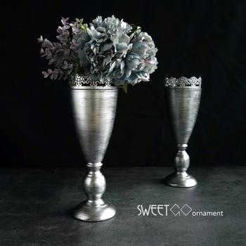 European Vintage silver vases home decor 33*11cm party supplier Dried flower vase suit Flower arranging metal vessel