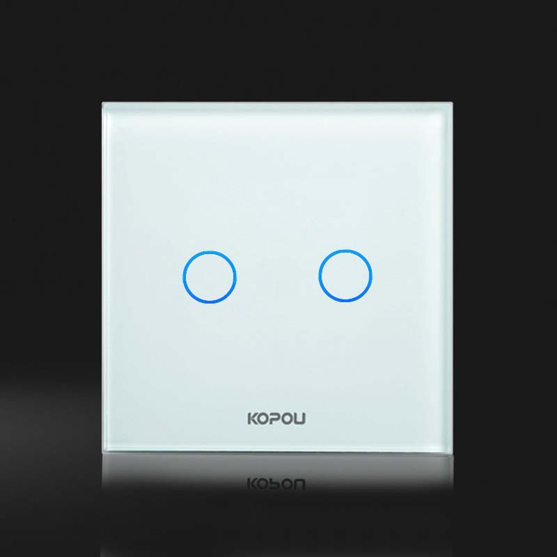 Free Shipping, UK Standard Touch Switch, 2 Gang 1 Way Control, Crystal Glass Panel,Wall Light Switch,KT002UK