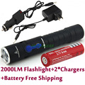 2014 New Slim Beautiful looking 3-Modes Rechargeable Mini Cree Q5 LED Flashlight Torch + AC Charger + Car Charger + Battery