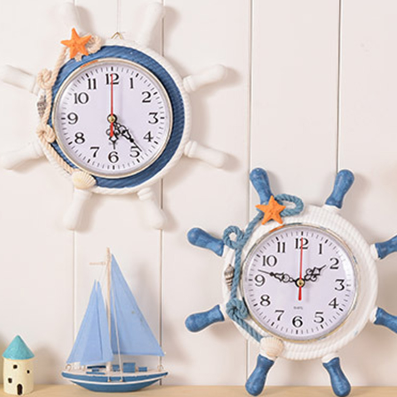 1pc Casual Home decoration Mediterranean Sea sailing wall clock watch needle single face Ship 's helmsman reloj salon T30