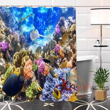 Best Nice Custom Sea Coral Shower Curtain Bath Curtain Waterproof Fabric For Bathroom MORE SIZE WJY#44(China)