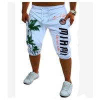 2018 Mens Shorts Casual Bermuda Brand Coconut Pattern Compression Male Cargo Shorts Men Linen Fashion Men