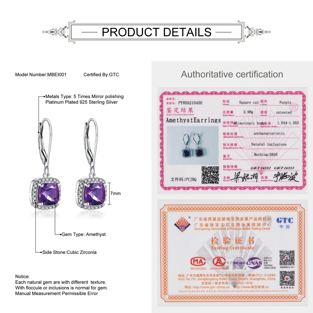MoBuy MBEI001 Cushion Natrual Gemstone Amethyst Drop/Dangle Earring - Fine Jewelry - Photo 3