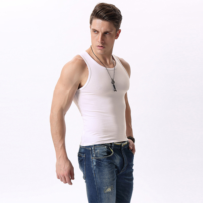 2018 men's   tank     top   vest Summer Cotton tights slim underwear Men Close-fitting Vest Fitness Elastic Casual Undershirts Male   Tank