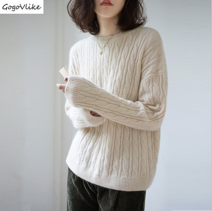 Autumn Winter Thin Cashmere Sweater Women Soft Slim Pullovers Solid Jumper Knitted Basic Casual Sweaters Koeran Style SA042S50(China)