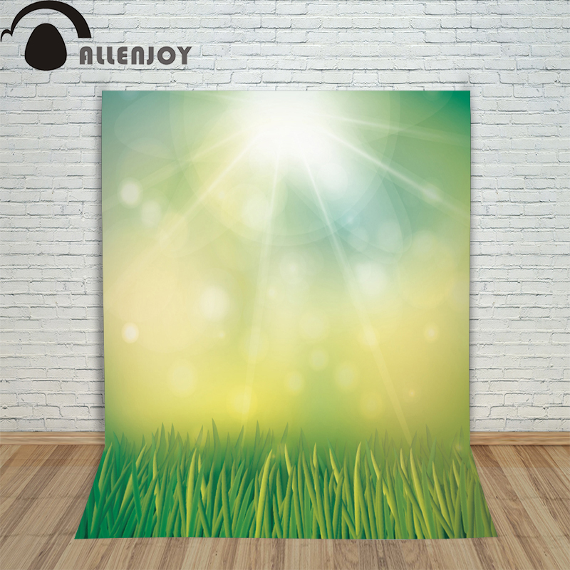 Allenjoy backdrop spring background green grass light bokeh dots photocall kids baby for photo studio