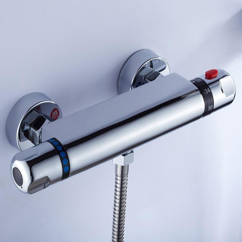 Shower Faucet Chrome Silver Wall Mounted Thermostatic Bathtub Faucet Round Rain Handheld Shower Bathroom Mixer Taps Set Wf-18046 Bathroom Fixtures Shower Equipment