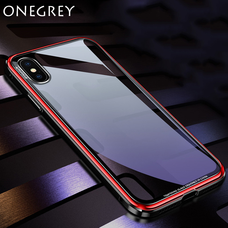 Luxury Metal Bumper Case for Iphone X 10 Plating Iohone X Frame Hard Clear Tempered Glass Mirror 360 Thin Back Cover for Iphonex iPhone XS