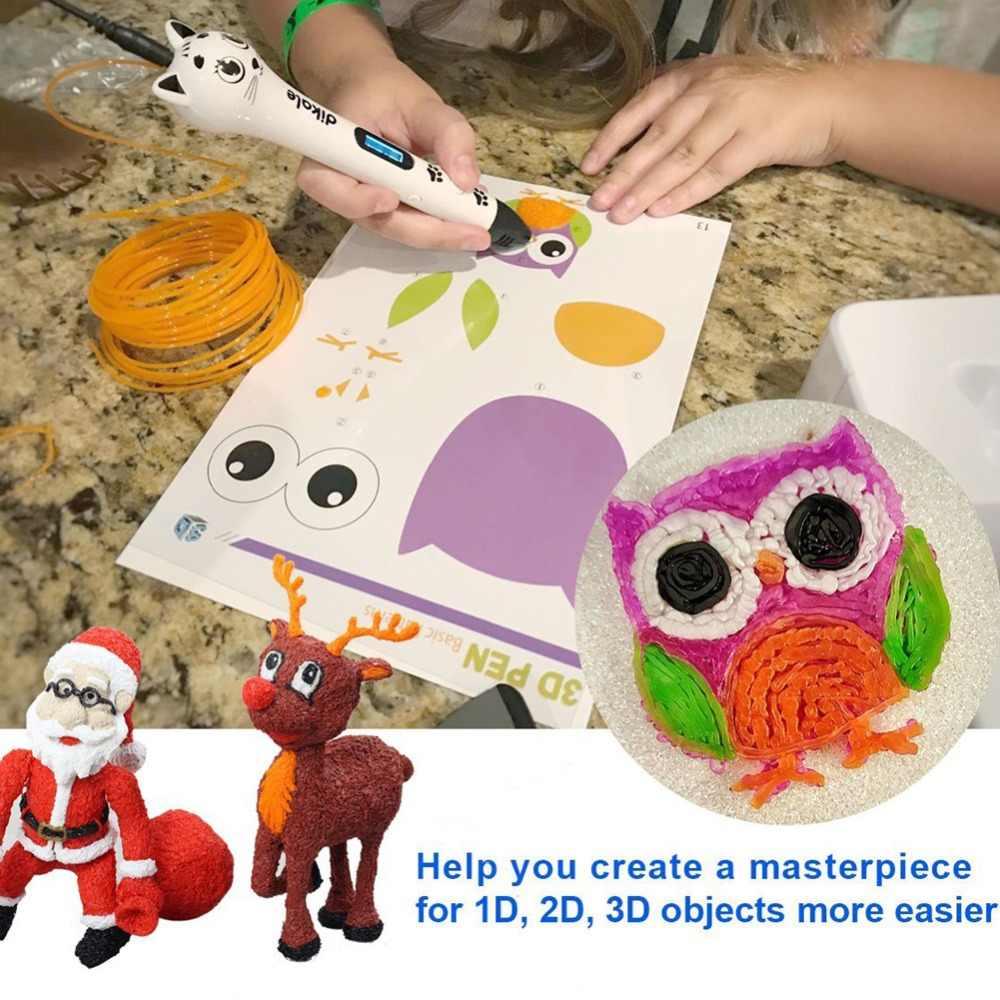 Dikale 3D עט מיוחד 1.75mm PLA נימה 3D הדפסת חומר 3D מדפסת 12 צבע מילוי דוגמנות סטריאוסקופית אין זיהום 36m