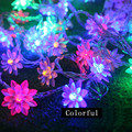 1 X 10M 100pcs Lotus Flowers Waterproof Led String Light Fairy Decorations For Bedroom/Christmas/Holidays Light With Plug Tail