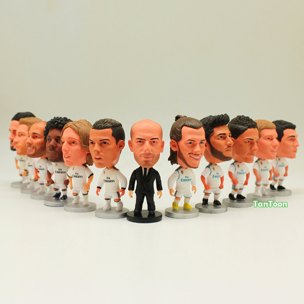 "12pcs/lot Soccer Player Star RM2019-White C.Ronaldo Zidane Ramos Bale Benzema Isco Kroos Asensio.... 2.5"" Action Dolls Figurine"