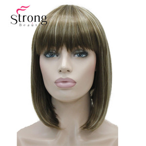 Image 5 - StrongBeauty Short Straight Blonde Highlighted Bob with Bangs Synthetic Wig Black Brown Red Womens Wigs COLOUR CHOICES