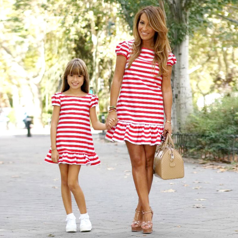 Matching Daughter-Dress Mom Family-Look Big Sister Girl And Striped Short Dresses