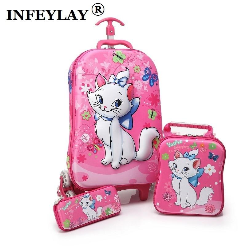 3D Stereo Anime Trolley Case Cute Kids EVA Travel 3PCS/set Suitcase Boy Girl Creative Cartoon Pencil Box Children Christmas Gift