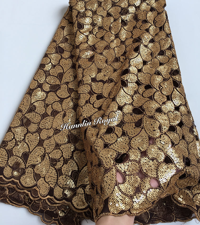 Big cutout holes Soft African handcut organza lace fabric African voile lace with Allover sequins high