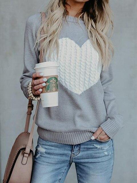 Liva סתיו חורף נשים סוודרי סוודרי שרוול ארוך סוודר slim לב סרוג מגשרי sueter mujer