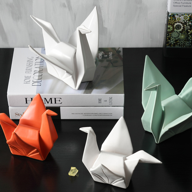 2019 New Nordic Creative Modern Abstract Ceramic Origami Statue Animal Figurine Sculpture For Home Decorations Gifts.jpg 640x640 - new-arrivals, decor, collectibles - Origami Swan