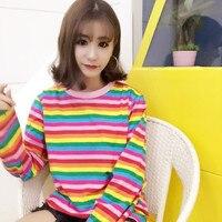 2017 נשים פאנק Harajuku Ulzzang קשת צבע אופקי הפסים Loose Ulzzang נשי חולצת טי שרוולים ארוכים נשי Kawaii