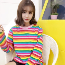 2017 Women'S Punk Harajuku Ulzzang Rainbow Color Horizontal Stripes Loose Ulzzang Female Long Sleeves Tshirt Female Kawaii