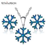 ROLILASON Sneeuwvlok Sieraden Set voor Vrouwen Anniversary Blue Fire Opal Zilveren Stamped 925 Oorbellen Hanger met ketting OS030