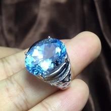 Real и Природный Голубой Топаз Кольцо мужское кольцо 925 серебро 12*16 мм gem Для мужчин изысканные украшения ручной работы