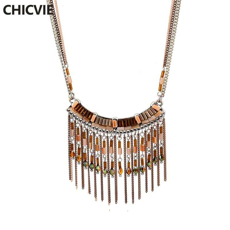 Купить chicvie милые ожерелья из натурального камня популярные золотые